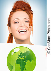 woman with illustration of green eco globe
