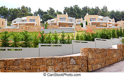 The luxury villas and fences, Halkidiki, Greece
