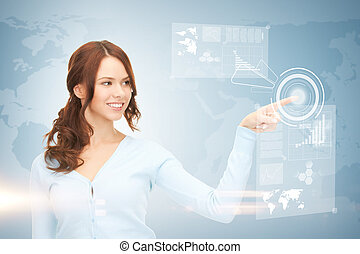 businesswoman touching virtual screen - picture of...