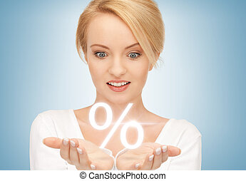 woman showing sign of percent in her hands - beautiful woman...
