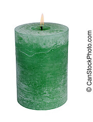 green candle - Large green burning candle.Isolated on white....