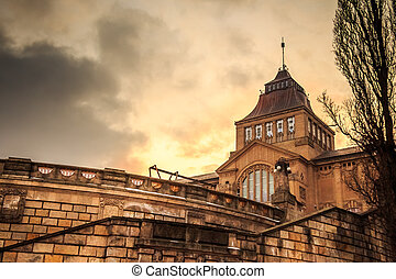 National Museum at sunset - National Museum in Szczecin at...