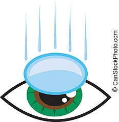Eye Contact Lens - Isolated eye with contact lens falling...