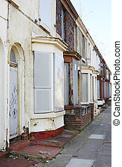 Boarded up terraced houses in Liverpool