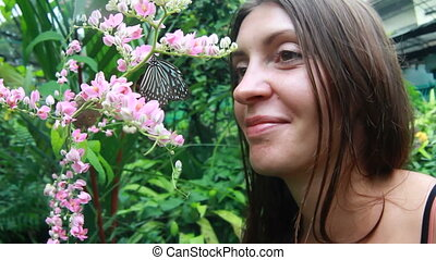 Beautiful girl with butterflies