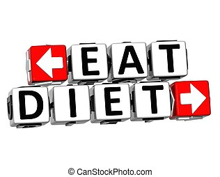 3D Eat Diet Button Click Here Block Text over white...