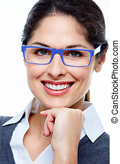 Business woman with eyeglasses - Business woman with...