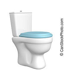Toilet bowl, with the closed seat of blue color. Object over...