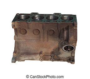 The cylinder head of the engine. Isolated on white...