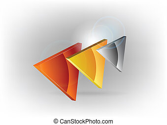 three triangles - three colors triangles on the grey...