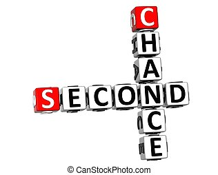 3D Second Chance Crossword on white background