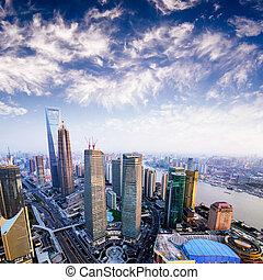 Skyline at sunset at shanghai