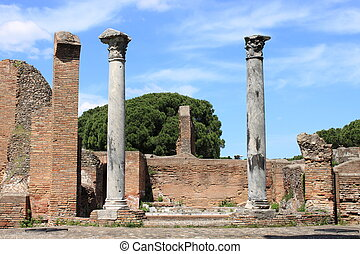 Ruins of a temple in Ostia Antica, the old harbour of Rome,...