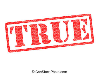 TRUE Rubber Stamp over a white background