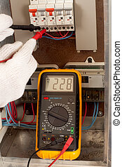 Measuring with multimeter - Electrician checking fuse box...