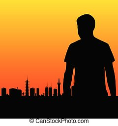man and the city vector illustration
