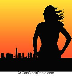 woman and the city vector illustration
