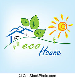 Eco House Background Vector