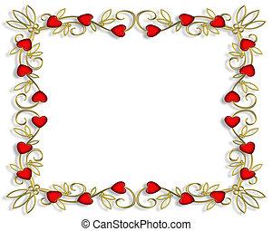 Valentine Hearts Frame 3D - 3D Illustration Valentine frame,...