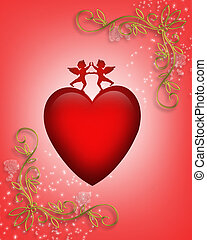 Valentine card or background Heart - 3D Valentine...
