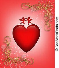 Valentine card or background Heart - 3D Valentine...
