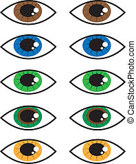 Eye Colors - Various isolated cartoon eye colors