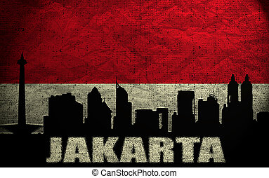 View of Jakarta on the Grunge Indonesian Flag