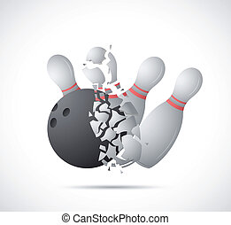 Bowling game cartoon - Illustration of bowling game on grey...