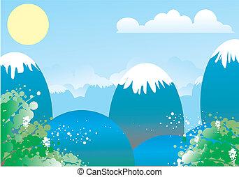 landscape - sol, sun, montanhas, cu, azul, sky, floresta,...