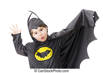 Boy with carnival costume . Costume of bat.