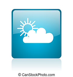 weather forecast blue square web glossy icon