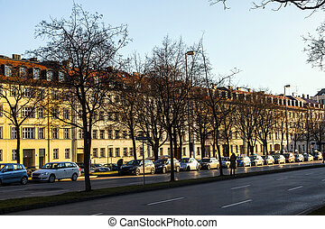 facade of houses for subsidized housing in Munich