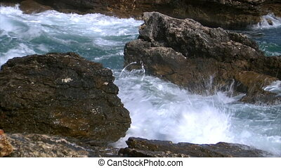 big rough coastal waves slowm