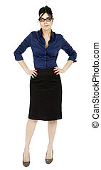 Impatient Business Woman - An adult early 30s black haired...