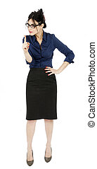 Scolding Business Woman - An adult early 30s black haired...