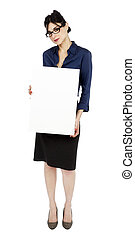 Business Woman Holding Sign - An adult (early 30's) black...