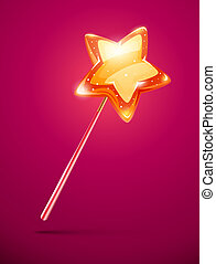 fairytale magic wand with shining star at the end - eps10...