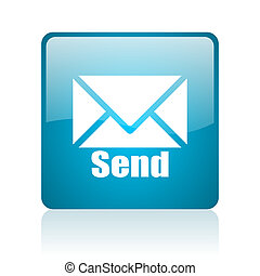 send blue square web glossy icon