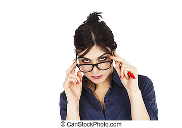 Looking Above Glasses - An adult (early 30's) black haired...