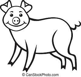 Cute piggy - Contour image of a cute cartoon pig