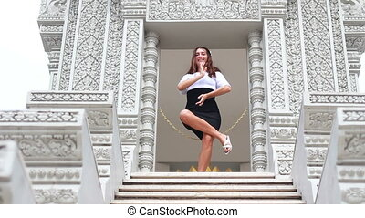 attractive woman in thai temple