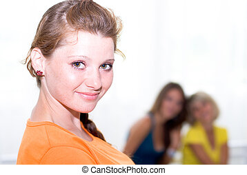 Young happy female student