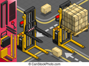 Isometric Forklift in Two Positions - Detailed illustration...