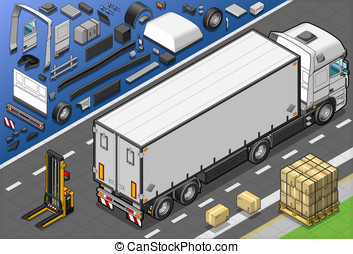 Isometric Frigo Truck in Rear View - Detailed illustration...