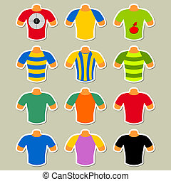 Set of multicolored t-shirts