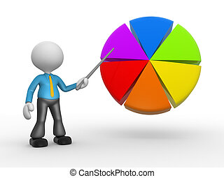 Pie chart - 3d people - man, person pointing a pie chart.