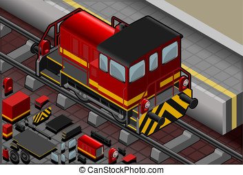 Isometric Red Train in Rear View - Detailed illustration of...