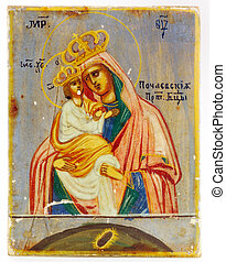 age-old icon of Pochaev Divine Mother (Russian orthodox...