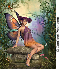 In The Fairytale Forest - a little fairy sitting on a stone...