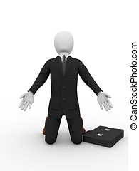 business man supplicating - A kneelling business man is...